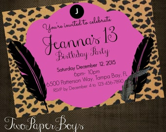 Teenage Cheetah Print invitation with pink and Feathers. Invitations for Birthday, Bridel Shower, Baby Shower or any occasion
