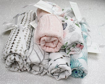Swaddle blanket, wrap blanket, double gauze, cotton newborn wrap, muslin, newborn photography prop, baby blanket, modern baby girl, baby boy