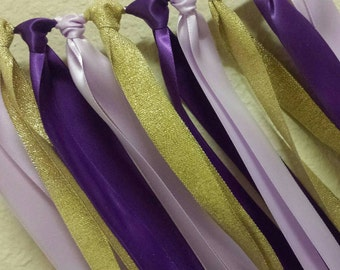 Purple lavender Gold Ribbon Garland Purple Princess Birthday Party or Baby Shower Backdrop Photo Prop High Chair