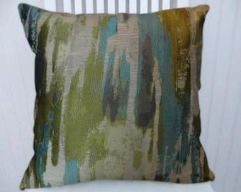 Blue Green Abstract Decorative Throw Pillow-18x18 or 20x20 or 22x22- Pillow Cover- Accent Pillow