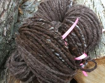 Bulky 100% Jacob Sheep Wool Yarn-Approx  260 yards-3 ply-Handspun