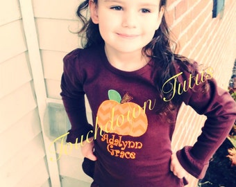 Pumpkin long sleeve top with monogram in embroidery