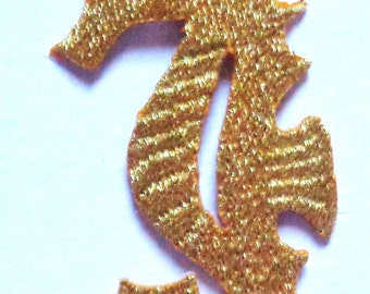 Embroidered Iron-On Applique Sea-Horse, 1+1/4 x 2+3/4 inch