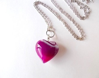 Magenta Heart Necklace, Mineral Jewelry, Gift for Her, Unique Agate Heart, Natural Stone Necklace
