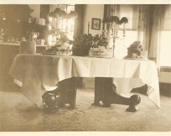 antique photo victorian table interior still life cakes pastries dessert sideboard gateleg table cake plates found