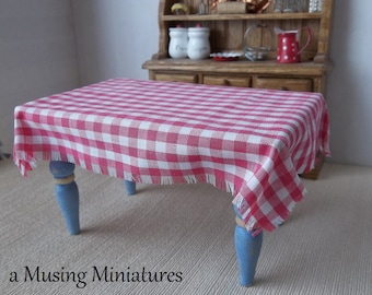 YOUR CHOICE Dollhouse Gingham Table Cloth for 1:12 Scale Miniature Farm or Cottage