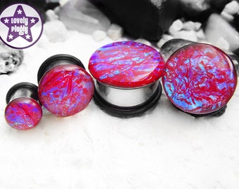 "Ocean of RGB Red Green Blue Faux Dichroic Plug / Gauge ONE Plug Only 4g, 2g, 0g, 00g, 7/16"" / 5mm, 6mm, 8mm, 10mm, 11mm"