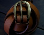 """light brown BELT 2 cm model """" MALTÊS""""  brass buckle and rivets,  maximum waist 98cm"""