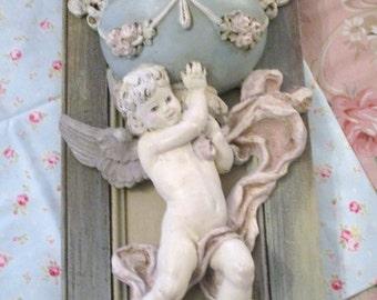 Vintage Pastel Cherub Wall Urn Sconce Romantic Garden Home Decor Syroco ASCP
