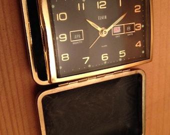 Rare Gold Black Elgin Travel Alarm Clock Day Date Month Pocket Watch Folding Mid-Century Eames Mad Men  1950's 60's Japan Works