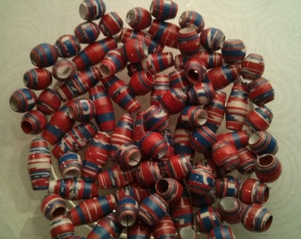 Red, white and blue handmade paper beads