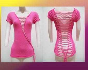 SALE!!!  MEDIUM - Juniors / Womens Shredded Cut up Hot Pink Top