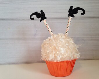 Sale Halloween Cupcake Toppers Witch Legs  Cupcakes Topper Glitter Paper Straws Orange Black Polka Dot Retro Paper Straws