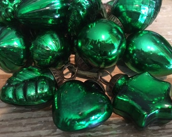 Collection of 18 Green Glass German Kugels