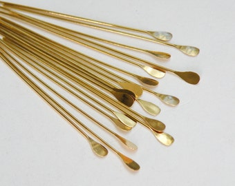 """50 Head Pins with oval paddle head 2"""" gold plated brass 22 gauge A5552FN"""