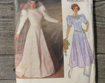 vintage vogue bridal original pattern 1679 size 10 misses 1986 factory folded 1980s fashion princess gown
