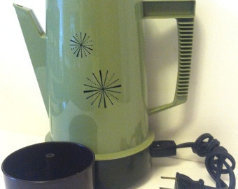 Vintage 1960s Starburst Coffee Maker Percolator Complete & Ready To Use! Mid Century Retro Atomic