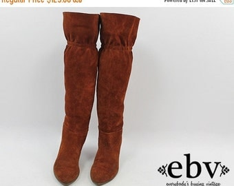 Vintage 70s Leather Knee High Boots size 9 9.5 Leather Boots Brown Boots Brown Knee Boots Suede Boots Pointy Toe Boots Pointed Toe Boots