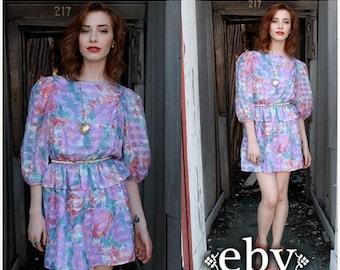 Vintage 80s Silk Floral Peplum Mini Dress M L Silk Floral Dress Peplum Dress Silk Dress Floral Dress Summer Dress