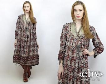 Indian Dress India Dress Hippie Dress Hippy Dress Boho Dress Festival Dress Indian Cotton Dress Vintage 70s Indian Cotton Midi Dress S M L