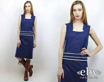 Vintage 70s Navy Mini Dress L XL Navy Dress Knit Dress 70s Dress Striped Dress