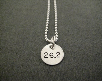 26.2 - JUST MARATHON Sterling Silver 26.2 Necklace - 16, 18 or 20 inch Sterling Silver Ball Chain - Hand Stamped Sterling Marathon Necklace