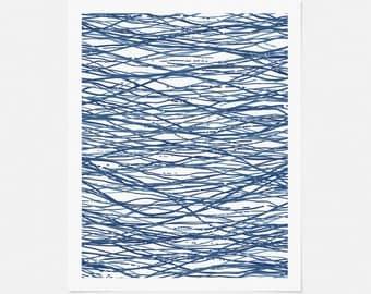 Blue Abstract Artwork - Minimalist Pen and Ink Drawing - Graphic Wall Art - Vertical Art Print - 5x7, 8x10, 11x14 Art - Bachelor Pad Art
