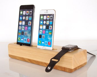 Dual iPhone dock + Apple Watch dock / iPhone dual docking station / Apple Watch charging -  unique present