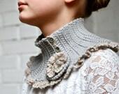 Crochet Neckwarmer with Flower Brooch -  PDF PATTERN