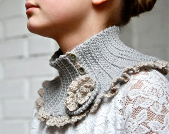 Crochet Scarflette with Flower Brooch -  PDF PATTERN