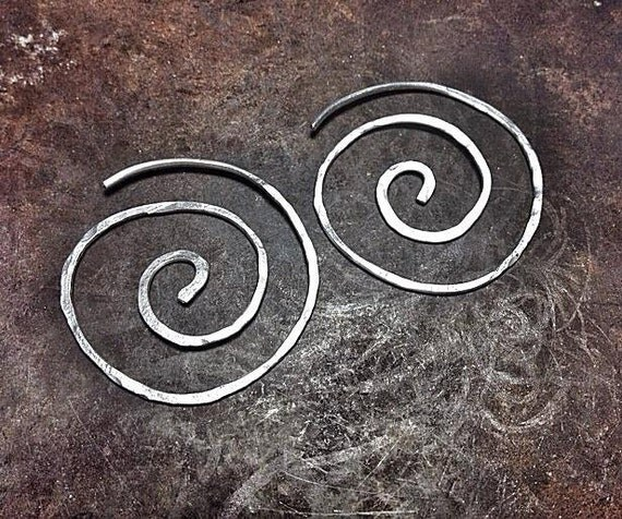 Silver/copper celtic spiral earrings
