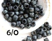 Picasso TOHO Seed beads, size 6/0, Frosted Jet Picasso, Y302F, black seed beads, hybrid, rocailles - 6g - S767