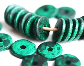 25Pc Greek Ceramic rondelle beads - Dark Teal Green with Splashes - 13mm spacer, rondel, washer, round bead - 1187