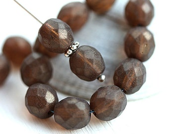 8mm glass beads, Tumbled Brown, luster, Czech round beads, fire polished, faceted beads - 15Pc - 2756