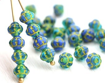 30pc Blue Green Mixed color Bicone beads, Sea color, Czech glass spacers, 6mm - 0503