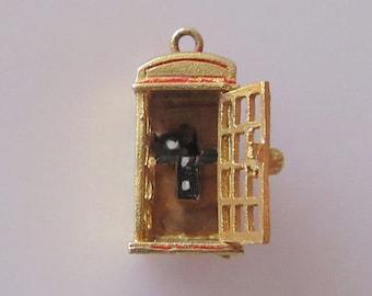 9ct Gold Opening British Telephone Box Enamel Charm