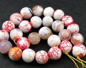 Natural Agate 14mm Faceted Round Beads, Full Strand, 27 Beads G52219 Orig.US 14