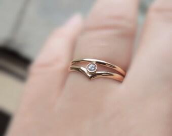 Chevron Engagement Ring Set - Wedding Set - Eco-Friendly Sustainable Gold - Solid Gold Yellow 10K 14K - 2mm 2.2mm Harmony Canadian Diamond