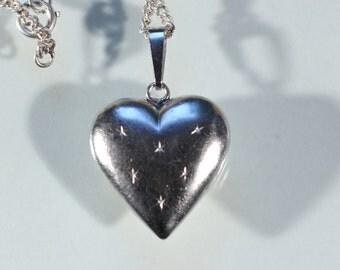Vintage 70s Pendant Sterling Pendant Necklace Heart Pendant Necklace French Jewelry Stamped Pendant Necklace