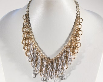 French VTG 70s Gold Tone And Silver Plate Bib Necklace