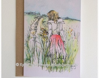 Fine Art Greeting Card, A6 Sized, Spring, Contemporary Landscape, Figurative Kylie Fogarty, Blank Greeting Card