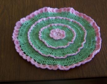Handmade Crocheted Round Bureau Scarf / Table Centerpiece Doily / Dresser Doily / Sage Green and Pink