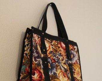 vintage floral tote pixel art hippie bondage handbag 1960s 1970s purse