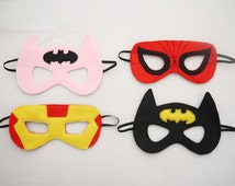 Batman spiderman, or Iron Man superhero Children's Mask party bag filler Handmade and hand embroidered