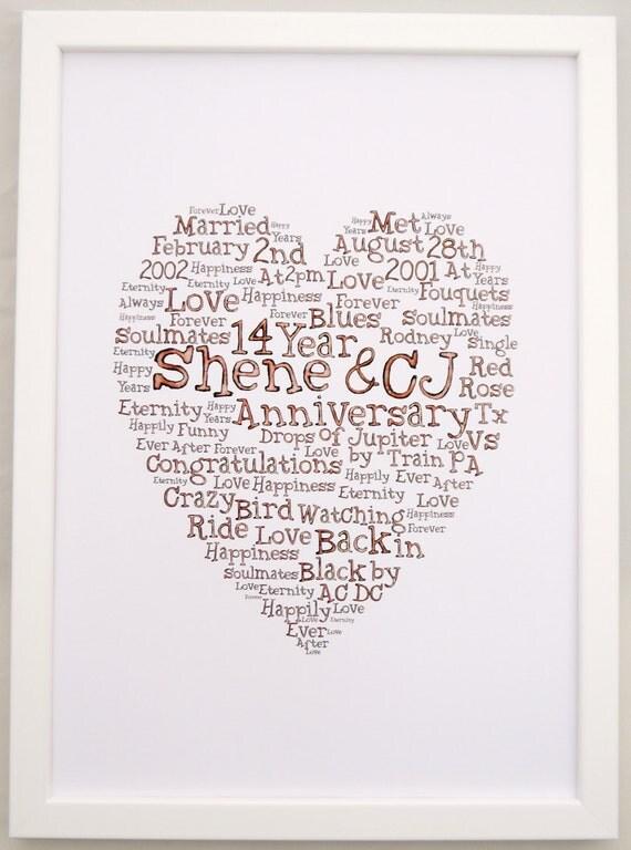 Wedding gift word art print digital download wedding anniversary gift ...