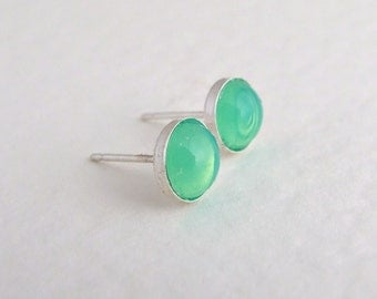 Green Opal Earrings ... small studs, apple green, mint green, seafoam, sterling silver, tiny earrings, tiny silver studs