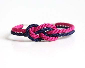 Sailor Knot Bracelet Navy and Hot Pink with Anchor Charm