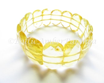 Baltic Amber Lemon Color Faceted Bracelet