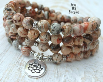108 mala, Fire Lace Jasper, Mala Bracelet or Necklace,Reiki charged, Buddhist Rosary,Prayer beads, Gemstone, wrist mala, Lotus, buddha, ohm