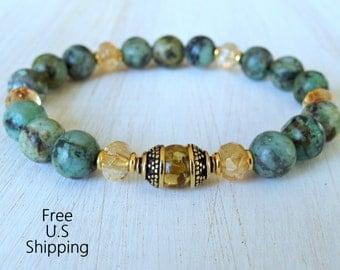 Change & Healing, African Turquoise, Citrine, Olive Amber Guru bead, Meditation, Mala bracelet, energy bracelet, Healing bracelet, yoga